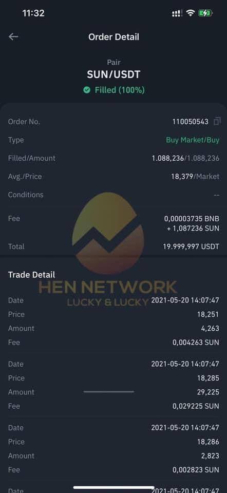 Lệnh mua Sun lần 2: 19.999 USDT, ngày 20/05/2021