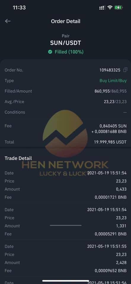 Lệnh mua Sun lần 1: 19.999 USDT, ngày 19/05/2021