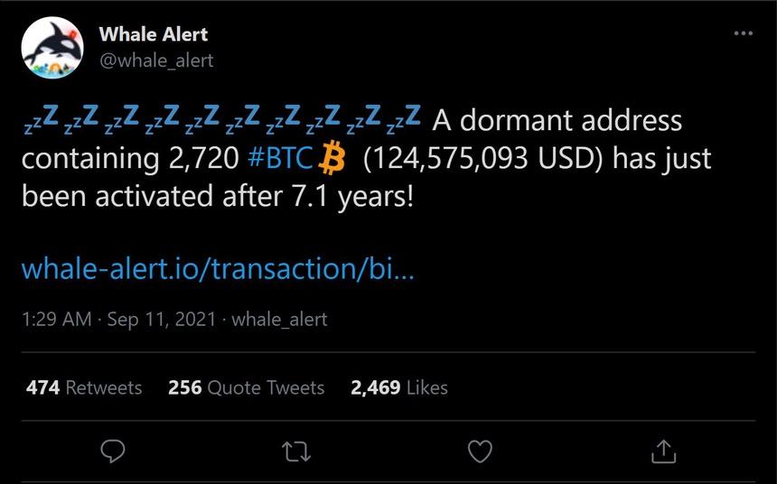 """Một """"cá voi Bitcoin"""" đã tỉnh giấc sau khi ngủ im hơn 7 năm"""