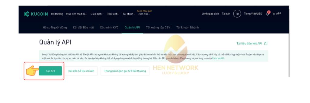 cài đặt API cho sàn giao dịch Kucoin